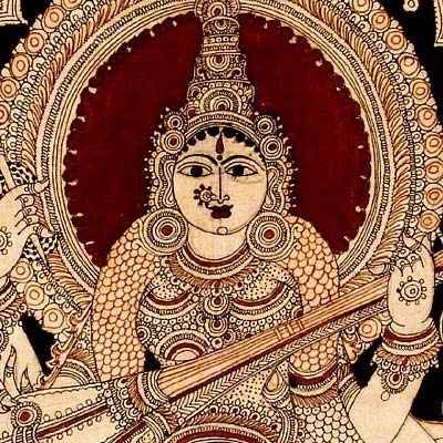 """Devi Saraswati"" Seated on Swan - Kalamkari Painting"