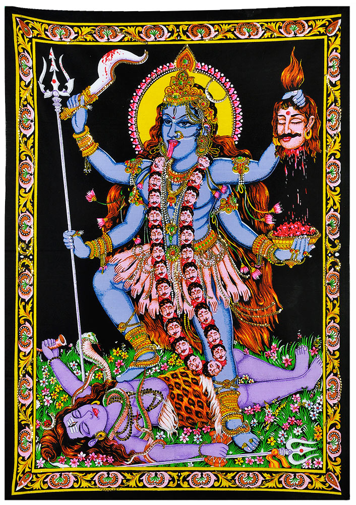 Goddess Kali Mata - Sequin Decorated Cloth Print