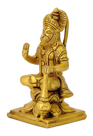 Blessing Hanuman Seated on Lotus Base