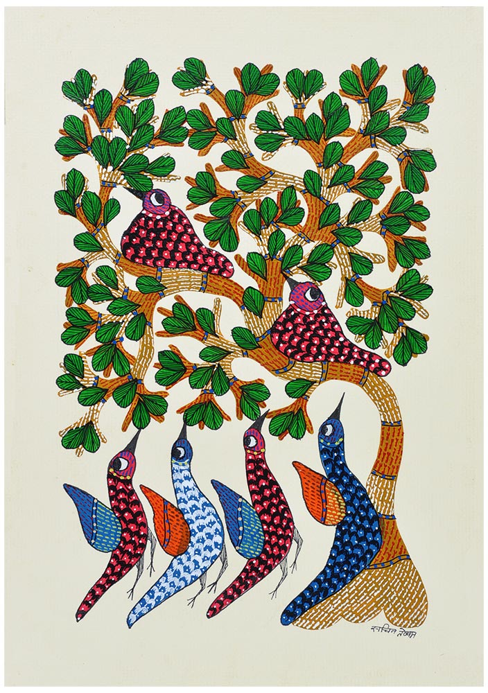 Dancing Birds - Folk Art Gond Panting