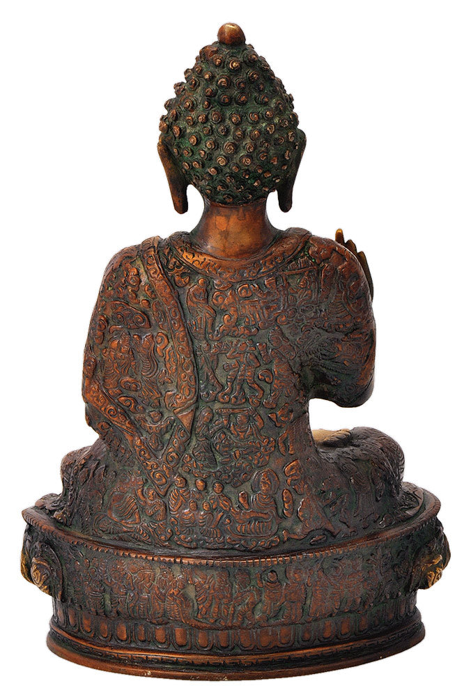 Brass Blessing Buddha Sculpture 11.50""
