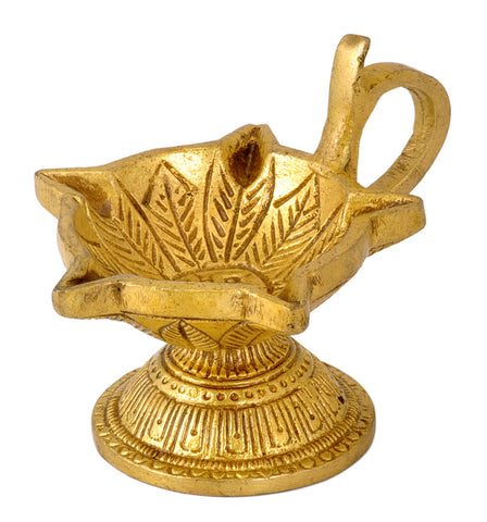Swastik Engraved Puja Wick Oil Lamp