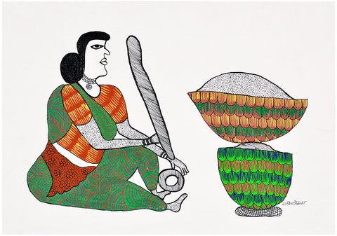 Woman Grinding Spices for Meal
