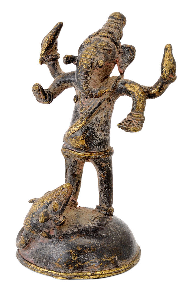 Unique Rare Ganesha Folkart Brass Figurine