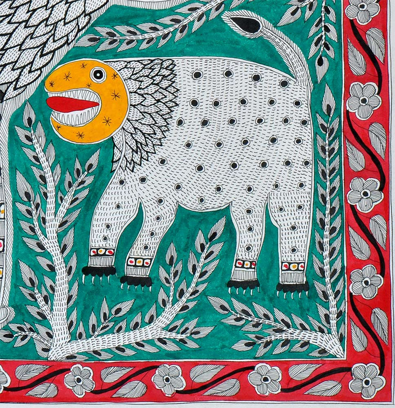 Lion and His Cub - Madhubani Painting