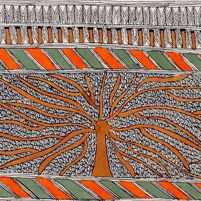 'Trees' Madhubani Painting