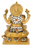 Maha Ganpati Seated on Lotus Throne 8""