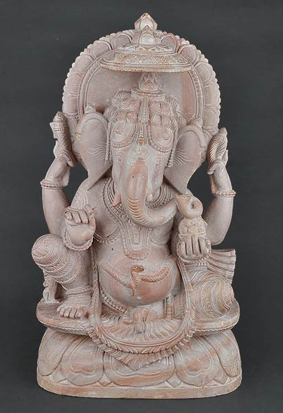 Seated Ganapati - Hand Carved Stone Sculpture