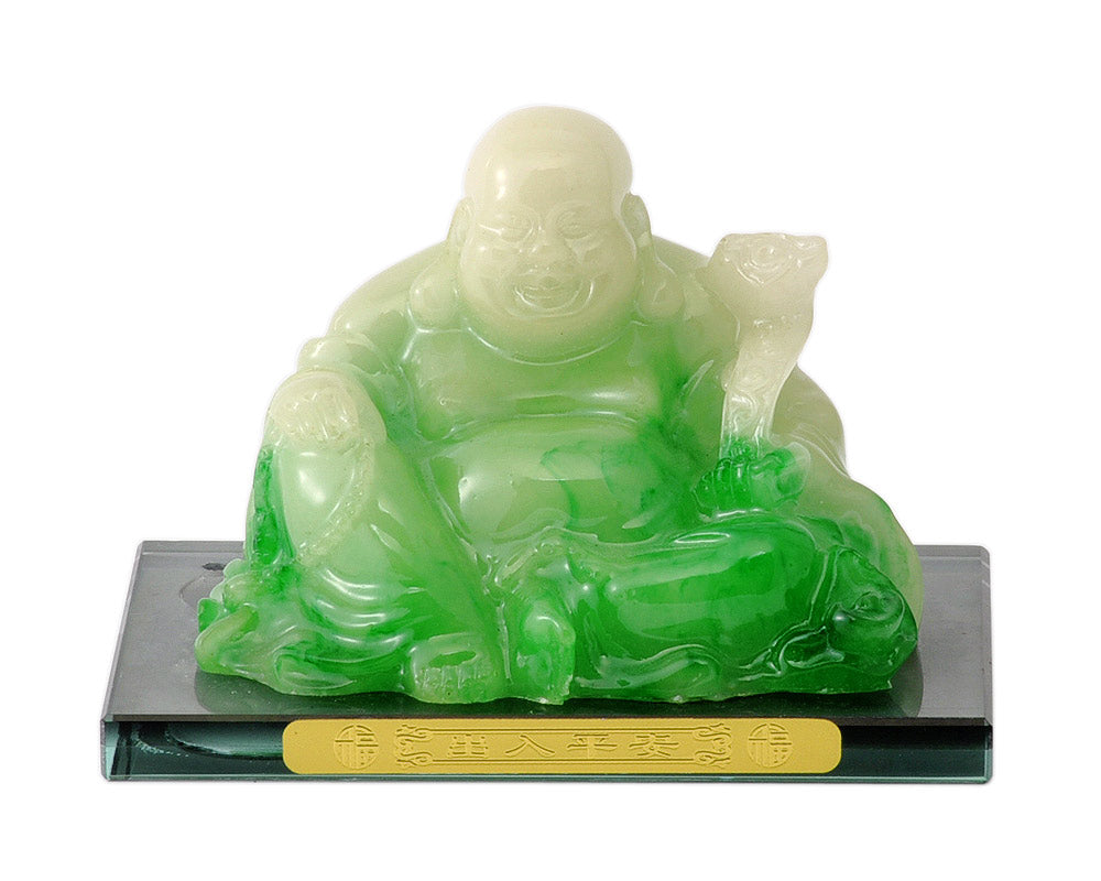 Laughing Buddha Resin Statue in Jade Finish