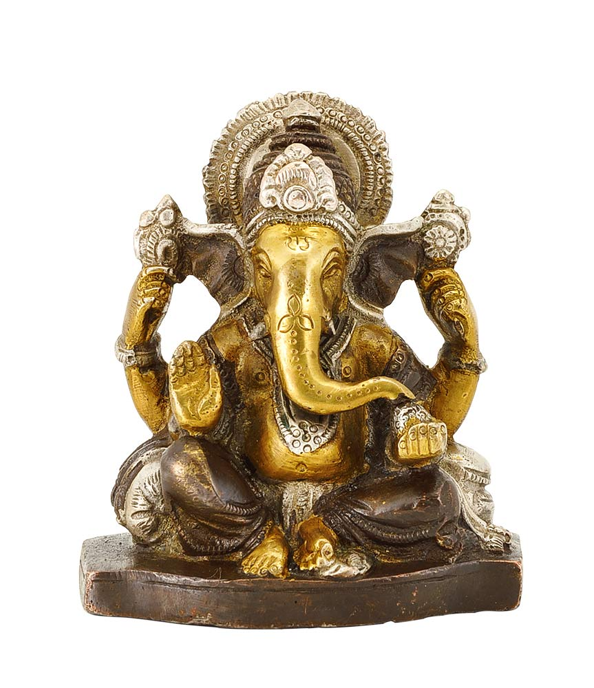 Chaturbhuj Lord Vinayaka Brass Figure