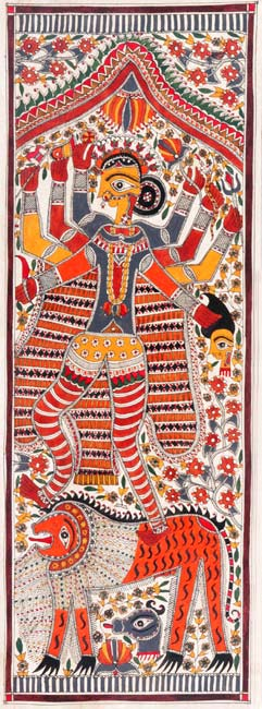 Ashtabhuja (Eight Handed) Durga-Madhubani Folk Painting