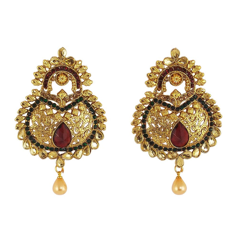 Stunning Gold Plated Dangle Earrings for Woman