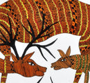 Deer Protects Her Fawn From Eagle - Gond Painting