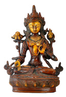 Bodhisattva Lokeshvara Statue in Golden Brown Finish