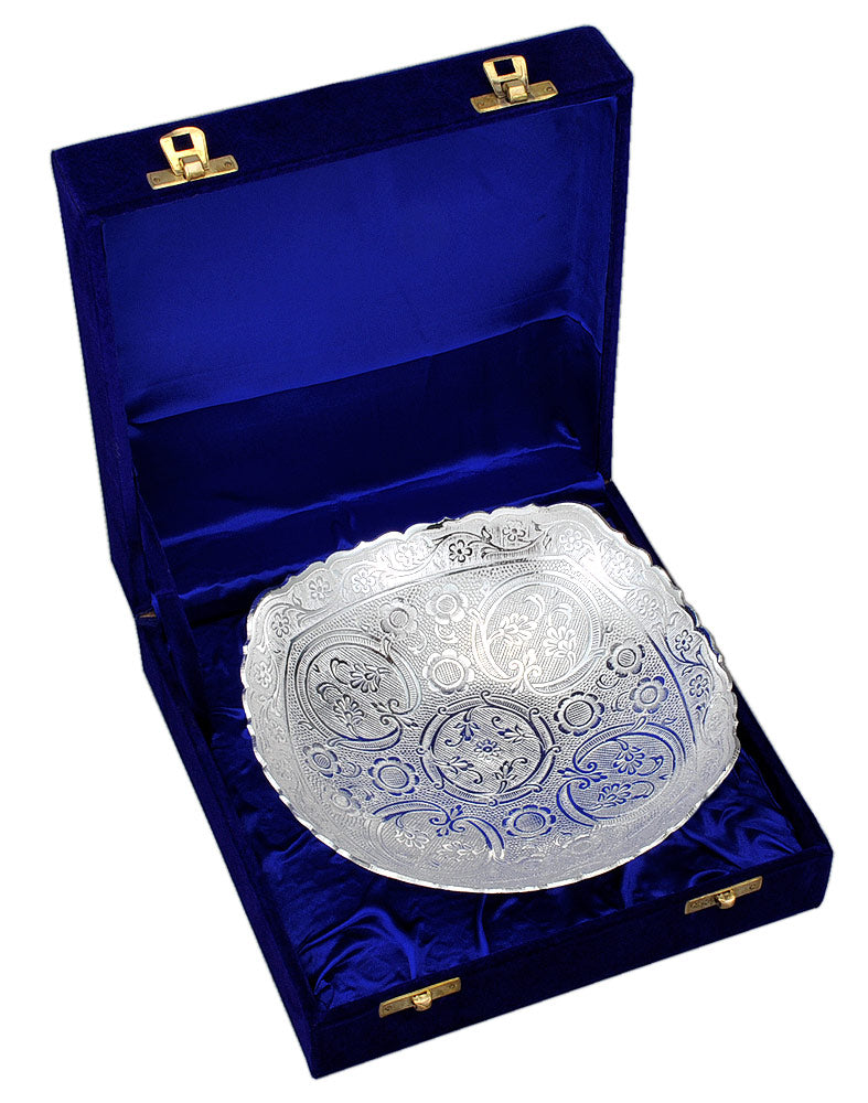 Engraved Silver Plated Bowl in Velvet Box