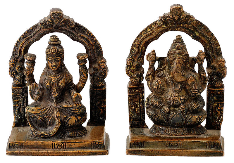 Antiquated Brass Lakshmi Ganesh Figurines