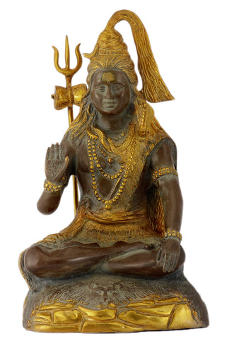 Antiquated Brass Hindu God Lord Shiva Sculpture with Trident (13.50 inches Height)