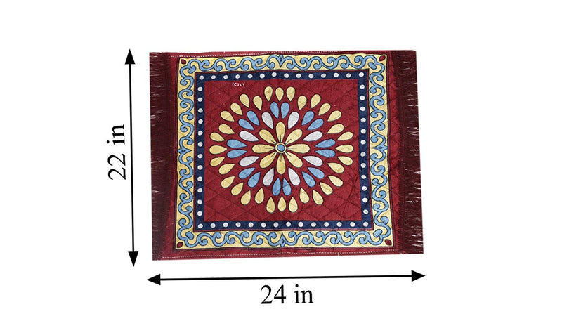 "Puja Mat Set Polycotton ( 2 Piece)- 22""x24"", Maroon"