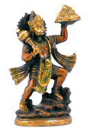Lord Hanuman Carrying Mountain of Herbs Brass Statue