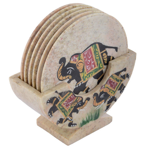 Beautiful Elephant Printed Stone Coaster Set of 6