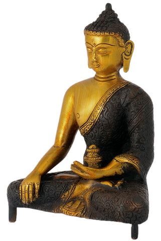 Blessing Gautam Buddha Handmade Showpiece Brass Statue for Home & Office