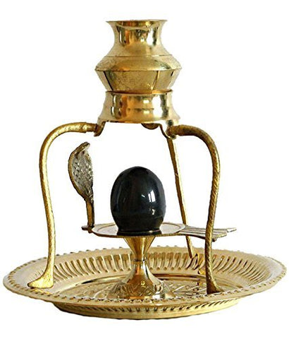 Black Shivling with Brass Trishul Jalahari Yoni, Plate, Kalash with Stand