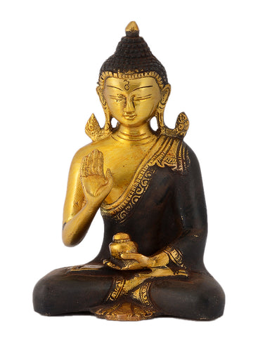 Seated Buddha with Kalash Antique Brown Brass Statue