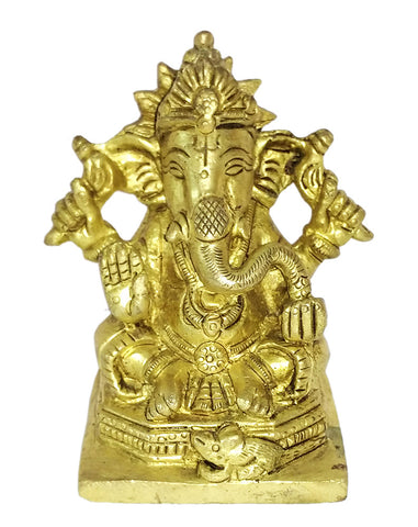 Chaturbhuj Lord Ganesh Small Brass Statue