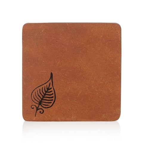 Engraved Leaf Wooden Coasters Set of 5