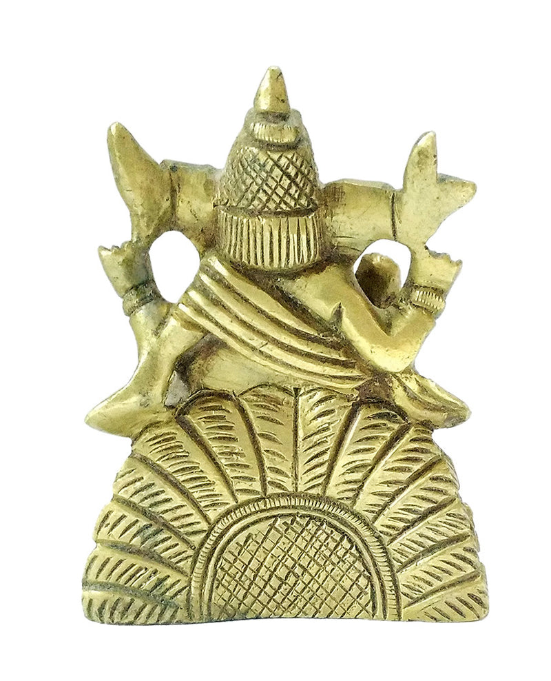 Ganesha Seated on Throne Small Brass Statue
