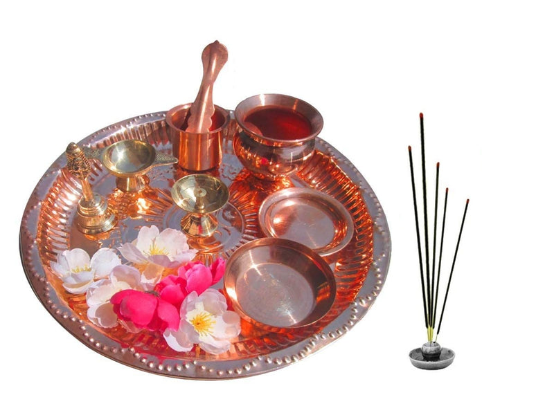 Copper Complete Pooja Thali Set for Worship