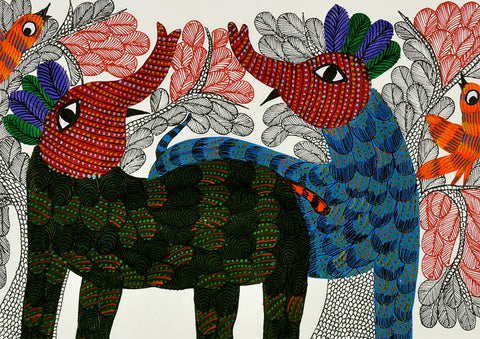 Wild Safari - Gond Painting