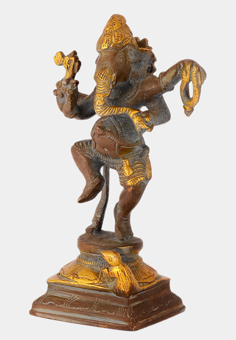 Dancing Lord Ganesha Small Brass Sculpture in Brown Finish