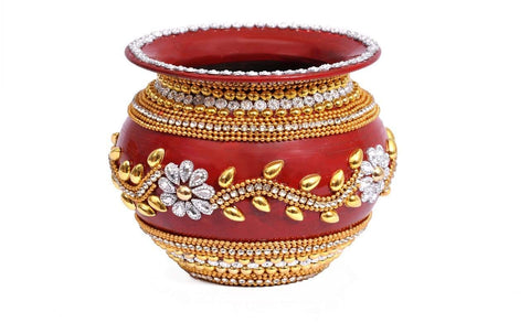 Decorated Handmade Golden Stone Work Pooja Kalash