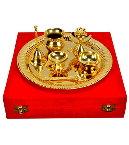 Gold Plated Decorative Divine Pooja Thali Set