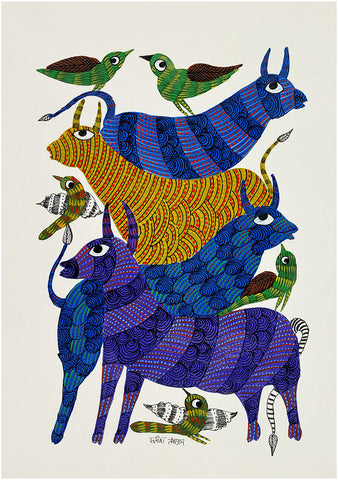 Animal Kingdom Gond Painting