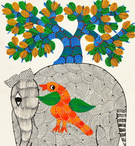 Elephant And Bird Under Tree - Gond Painting