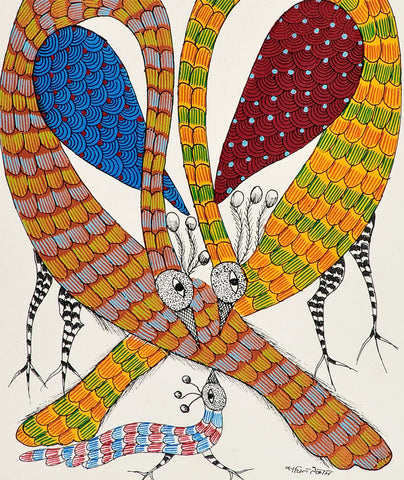 Bird Family - Gond Painting