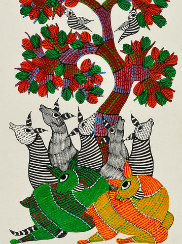 Colorful Deers - Gond Painting