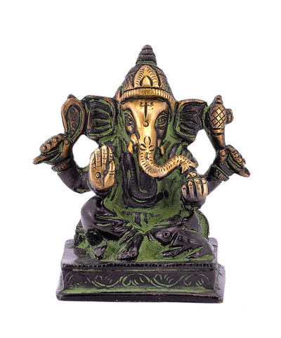 Lord Ganesha Seated on Chowki Brass Statue