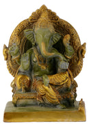 Lord Vighnaharta Ganesha Seated on Throne Brass Statue with Green Antique Finish