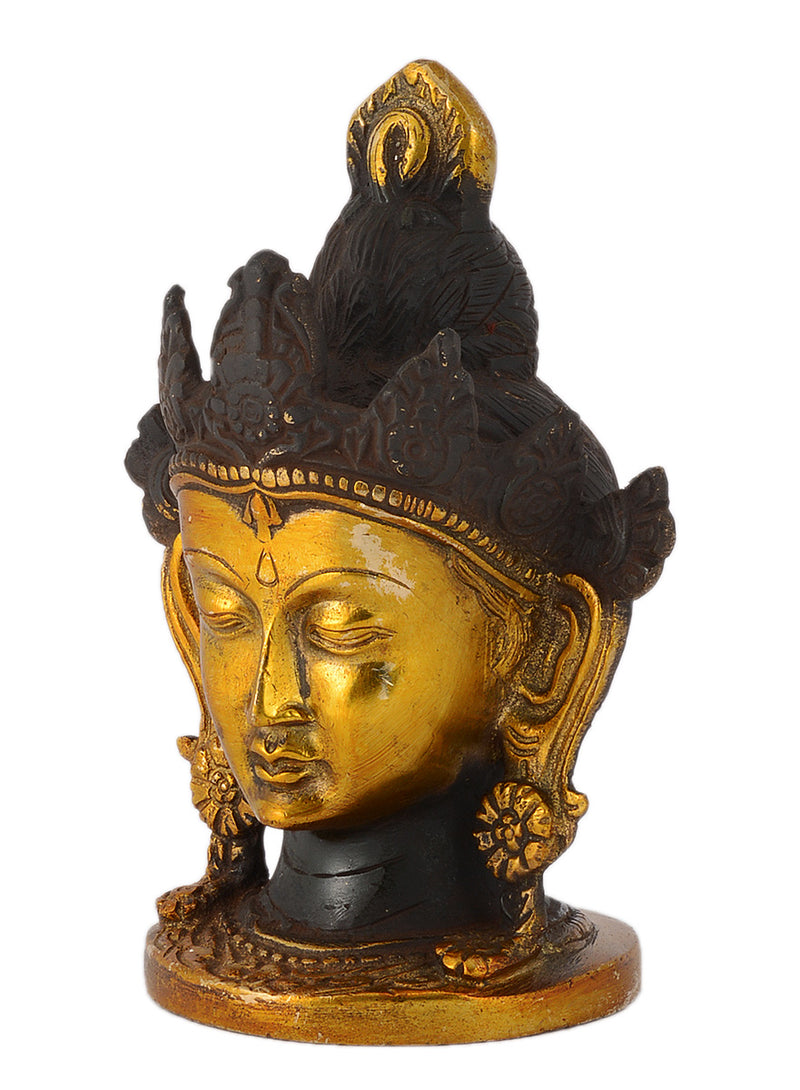 Asian Goddess Tara Head Antique Finish Brass Idol