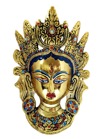 Buddhist Deity Goddess Tara Golden Mask Home Decor Metal Hanging