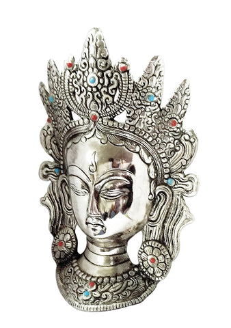 Buddhist Deity Goddess White Tara Mask Home Decor Metal Hanging
