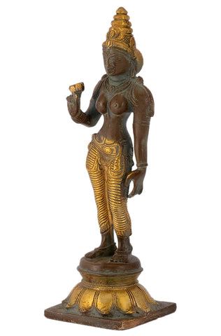 Handmade Standing Parvati on Lotus Brass Sculpture Showpiece