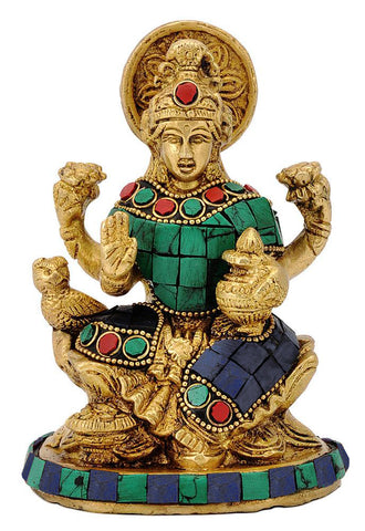 Goddess Dhan Lakshmi with Kalash - Brass Statue
