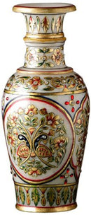 Truly Indian Gold Leaf and Floral Design Peacock Marble Pot