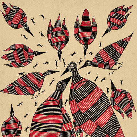 Ant & Birds - Gond Painting