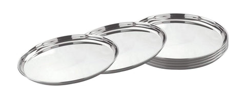 Stainless Steel Round Thali (Dinner Plates) Set of 6