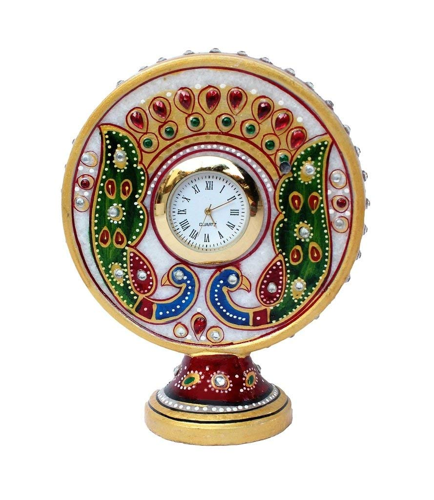 Marble Table Clock for Home Decor Gift Item